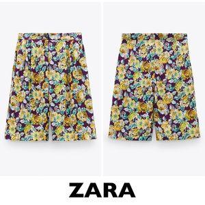 ZARA Purple Floral Printed Bermuda Shorts Medium